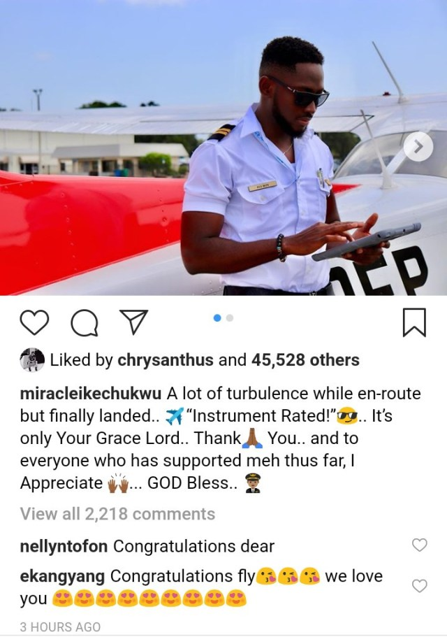 """BBNaija winner, Miracle Ikechukwu is certified as an """"Instrument Rated"""" pilot"""