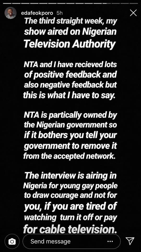 Former Pastor and Nigerian gay man Edafe Okporo reacts to homophobic comments over his show which aired on NTA