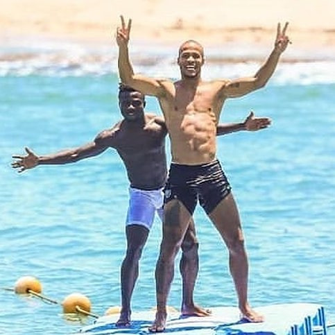 Super Eagles star show off their abs at the beach as they unwind ahead of AFCON clash with South Africa (Photos)