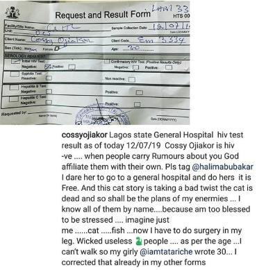 Cossy Ojiakor dares Halima Abubakar to go do HIV test and make the result public
