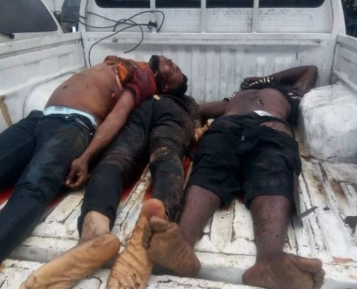 Police shoot 3 armed robbers dead in a failed bank robbery in Rivers State (Graphic Photo)