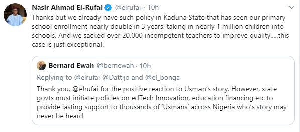 Governor El-Rufai pledges to sponsor the education of Almajiri boy who doesn