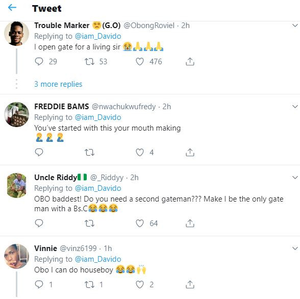 Twitter goes wild after Davido reveals that his gate-man has
