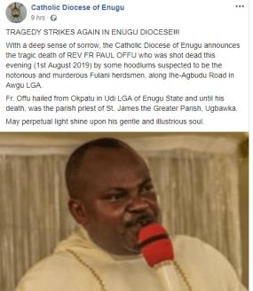 Dead body Rev. Fr. Paul Offu