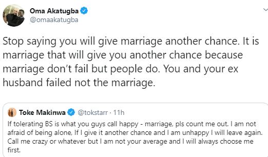 Stop saying you will give marriage another chance, it is marriage that will give you another chance- journalist Oma Akatugba tells Toke Makinwa