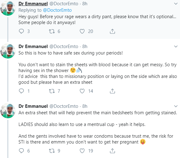 Twitter doctor advices women to have sexual intercourse during their periods and avoid starving their partners of sex