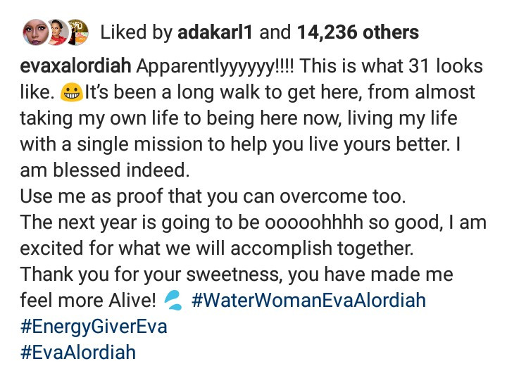 Eva Alordiah talks about almost taking her life as she celebrates turning 31