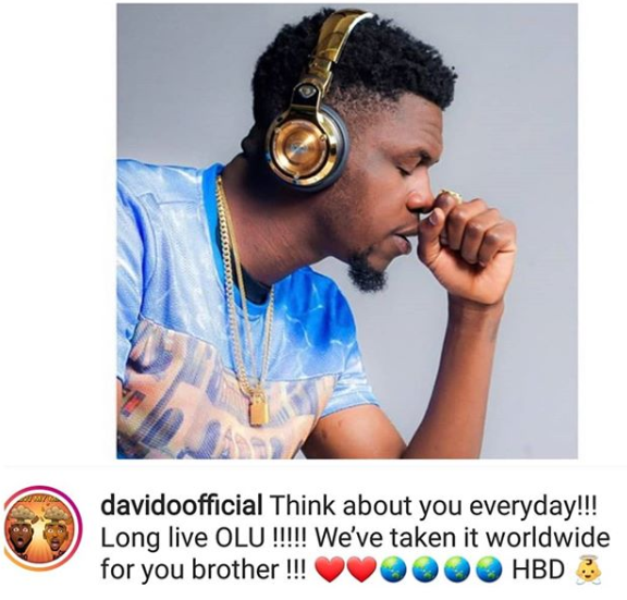 Davido remembers his friend, DJ Olu, on his 2nd posthumous birthday