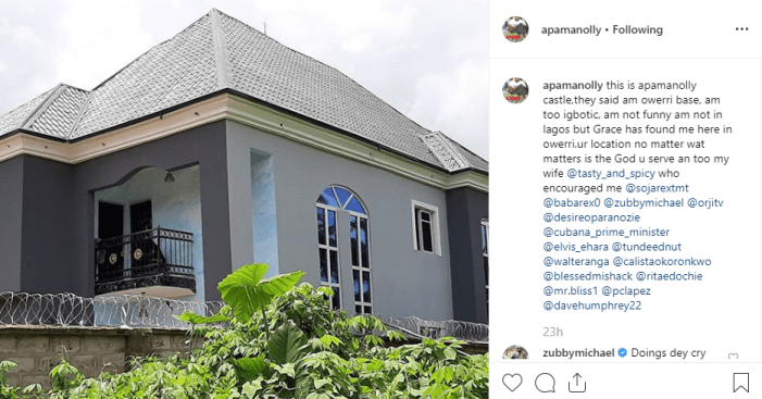 Nollywood actor, Apama Egbeigwe shows his new house. (Photo)