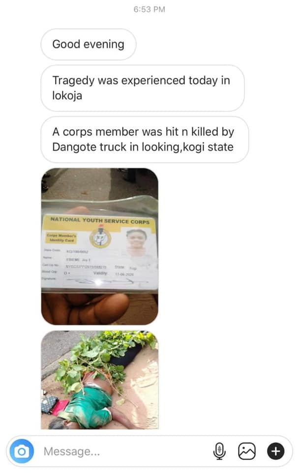 Corps member killed by a truck in Kogi (graphic photos)