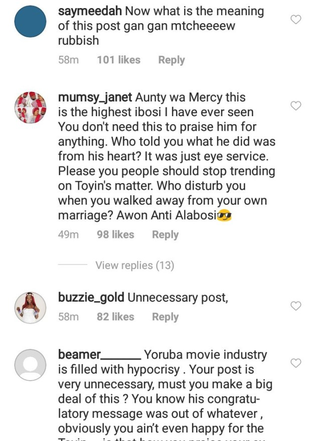 Nigerians drag Mercy Aigbe mercilessly for her post praising Toyin Abraham