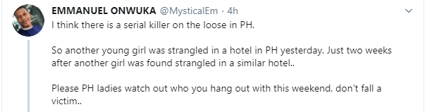 Another lady strangled to death at a hotel in Port Harcourt