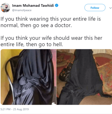 Imam abolishes muslim men on Burqa