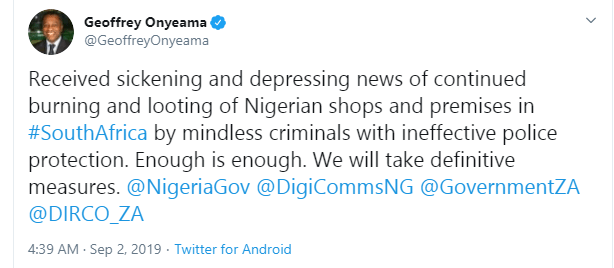 Enough is enough, we will take definitive measures - Foreign Affairs Minister, Geoffrey Onyeama reacts to burning of properties owned by Nigerians in South Africa