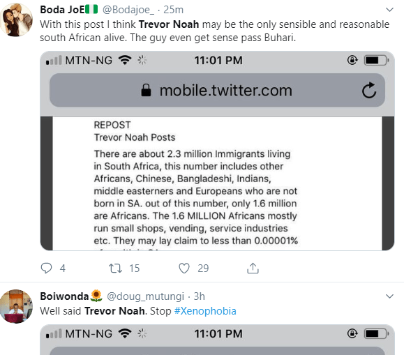 Trevor Noah receives praise as he reacts to the xenophobic attack on Nigerians by South Africans