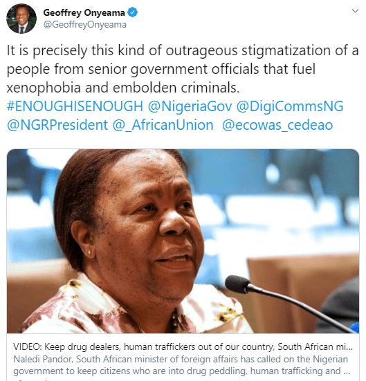 ?You are fueling Xenophobia? ? Geoffery Onyeama replies SA minister who described Nigerians as drug dealers