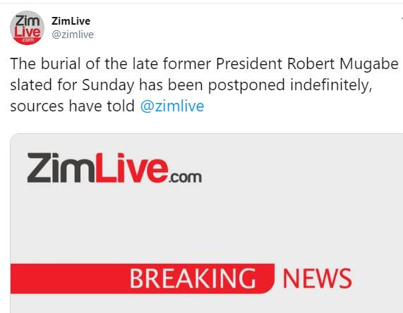 Breaking: Robert?Mugabe?s burial postponed indefinitely