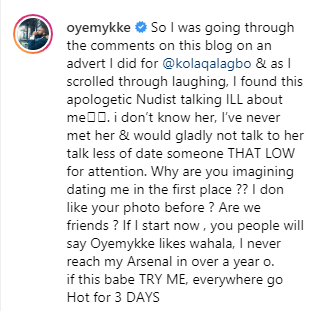"Oyemykke Reacted Toughly at Etinosa Comment ""I found This Apologetic Nudist Talking ILL About Me"""