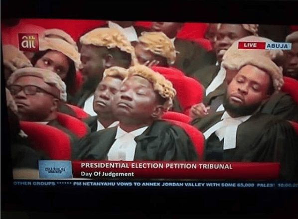 #PEPT: Viral photo of lawyers sleeping at the Presidential tribunal
