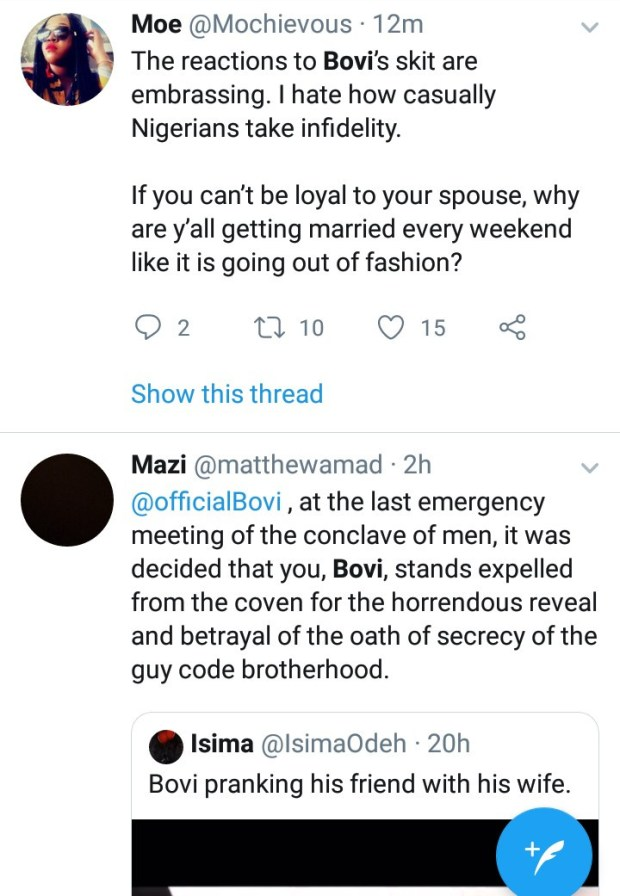 Male Twitter users call out Bovi for exposing married men