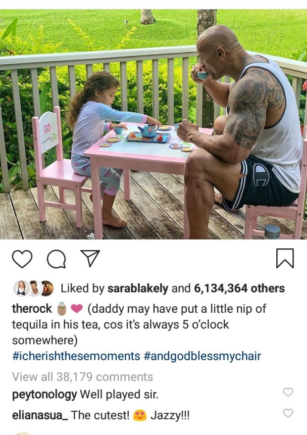 """This photo of Dwayne """"The Rock"""" Johnson and his daughter having a tea party will make you smile"""