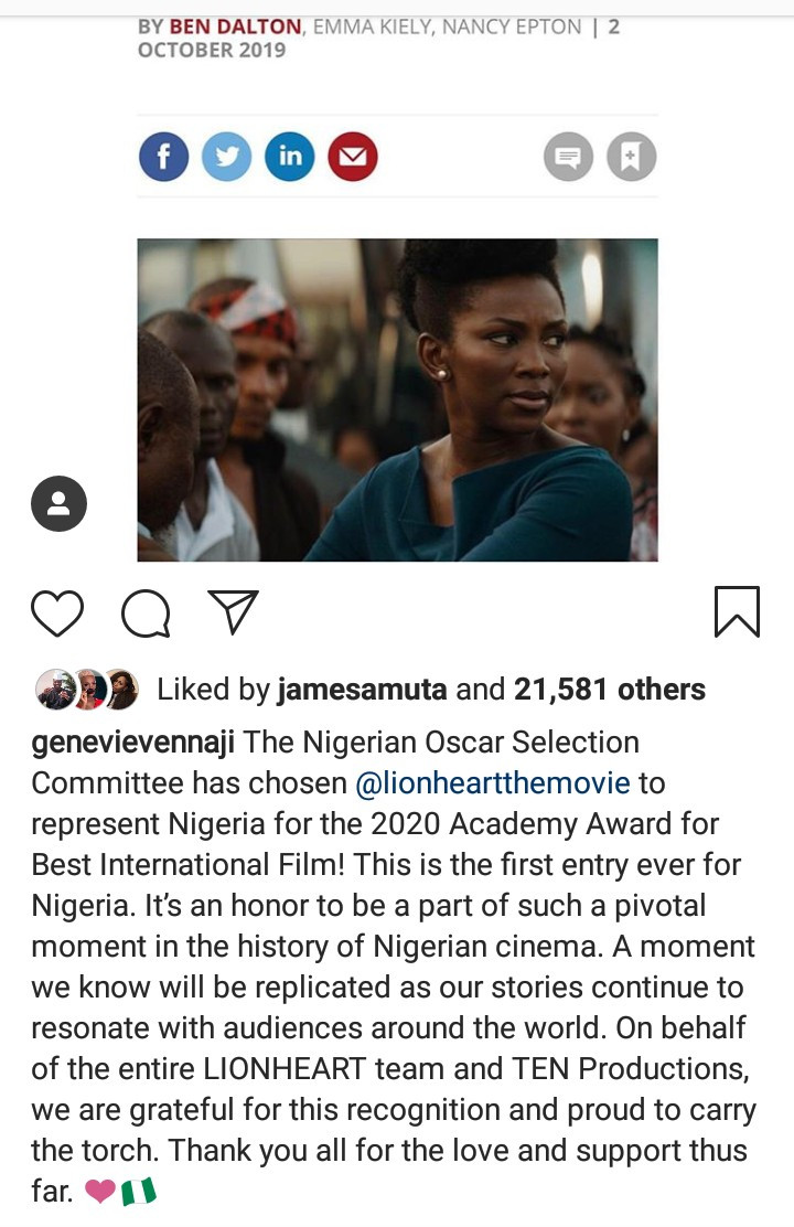 Genevieve Nnaji reacts to her movie