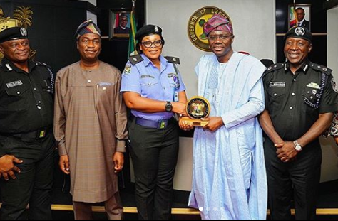 Sanwo-Olu honours female police officer who used personal resources to save robbery victim (Photos)