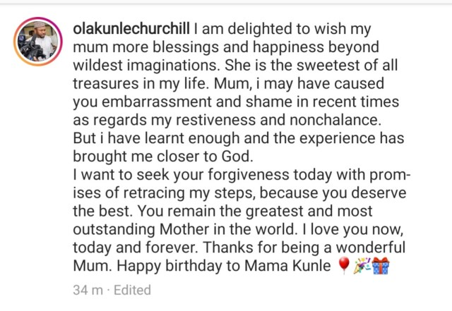 Olakunle Churchill seeks forgiveness from his mum for causing her embarrassment and shame as he wishes her a happy birthday