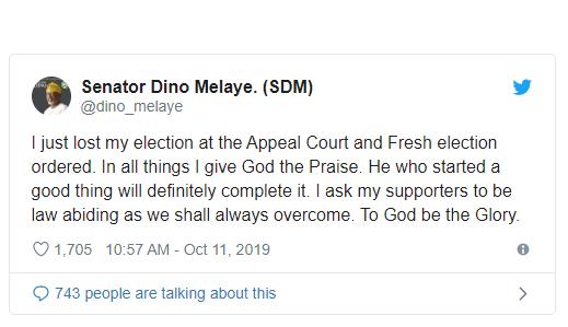Breaking: Appeal court sacks Senator Dino Melaye, orders fresh election