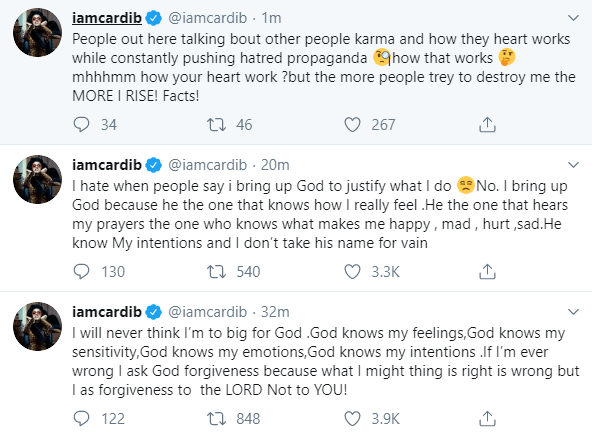 """""""I will never think I?m too big for God"""" Cardi B talks about her relationship with God"""
