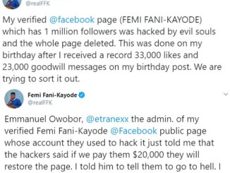 FFK's Facebook page hacked, hackers demand $20k to restore page