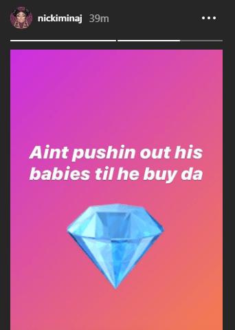 """Aint pushing out his babies till he buy da rock"" Nicki Minaj says"
