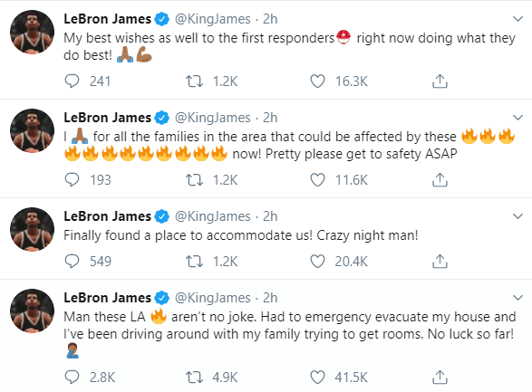 Lebron James forced to evacuate his mansion as California wildfire ravages homes in his neighbourhood