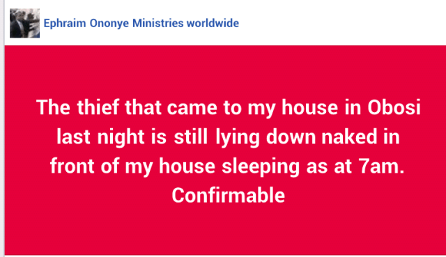 The Thieve that came to my house is sleeping - Nigerian Pastor (photos)