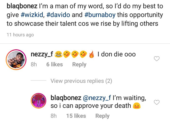 Balqbonez slams follower who laughed at him after he told LITV that he plans to help showcase Davido and Burna Boy to the world
