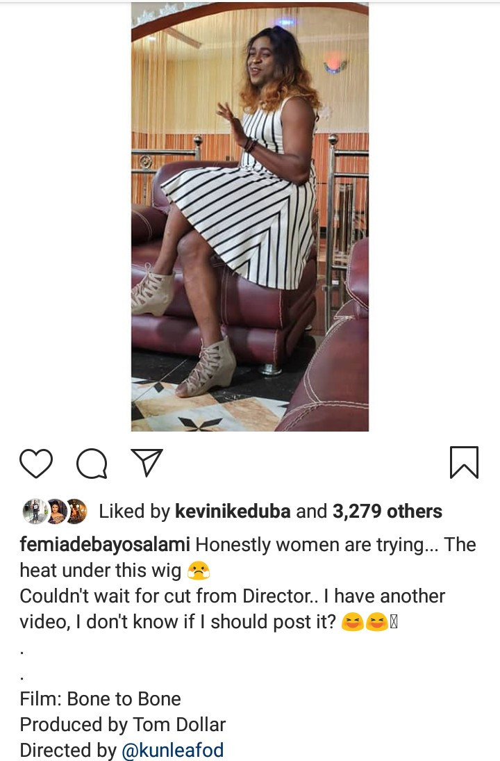 Femi Adebayo Salami shows of his twerk skills as he dresses in female clothes for a movie role (photo/video)