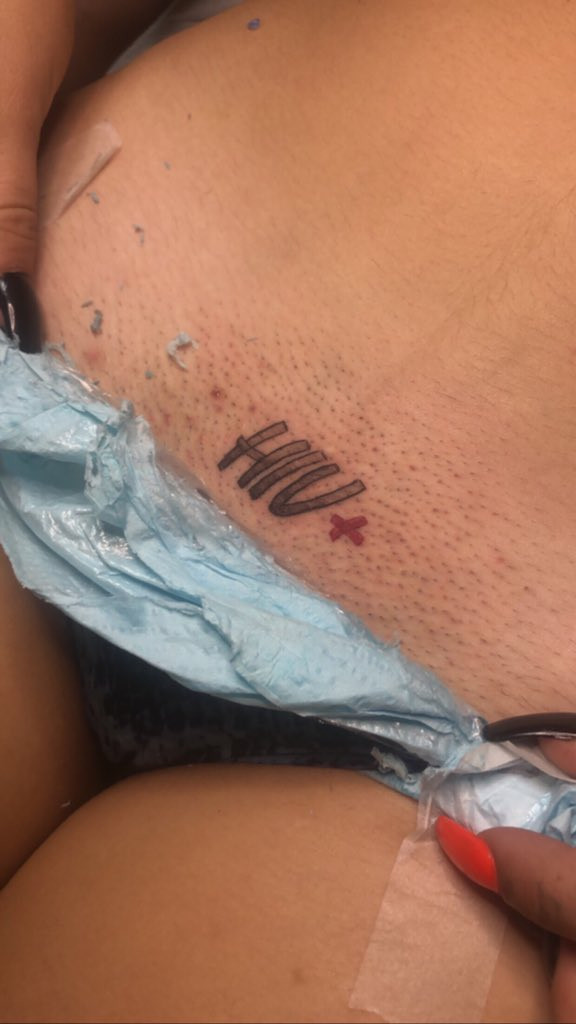 """Lady tattoos """"HIV+"""" on her private part to announce she has the virus (See Photos)"""