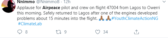 Air Peace aircraft carrying 96 people develops engine failure mid-air