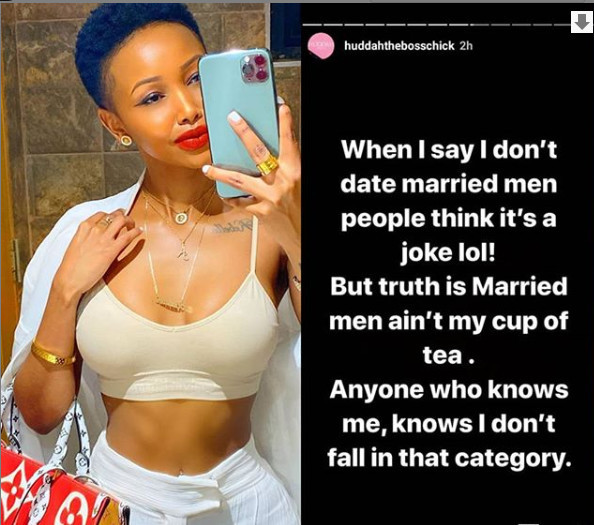 I don?t date married men ? Huddah Monroe