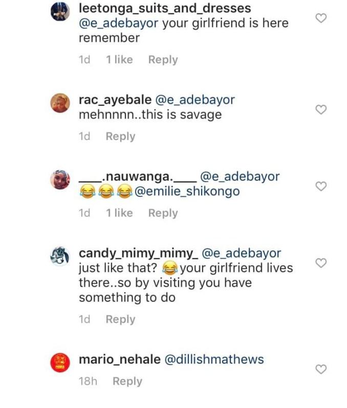 Emmanuel Adebayor and Dillish Mathews split