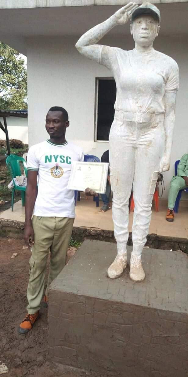 Amazing! This sculpture of a female Corps member made by a male Corps member is so realistic it could pass for a real human being