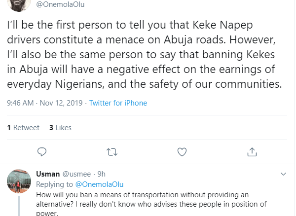 Nigerians react to reports of ban on Tricycles 'Keke' in Abuja