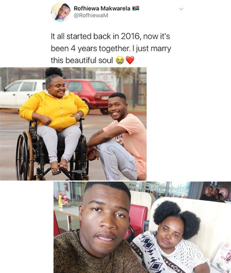 Man marries his physically challenged girlfriend after being together for 4 years