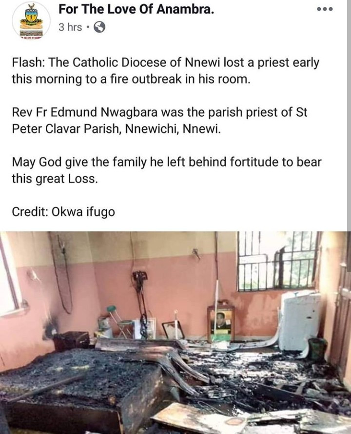 Catholic priest burnt to death after fire broke out in his room in Nnewi