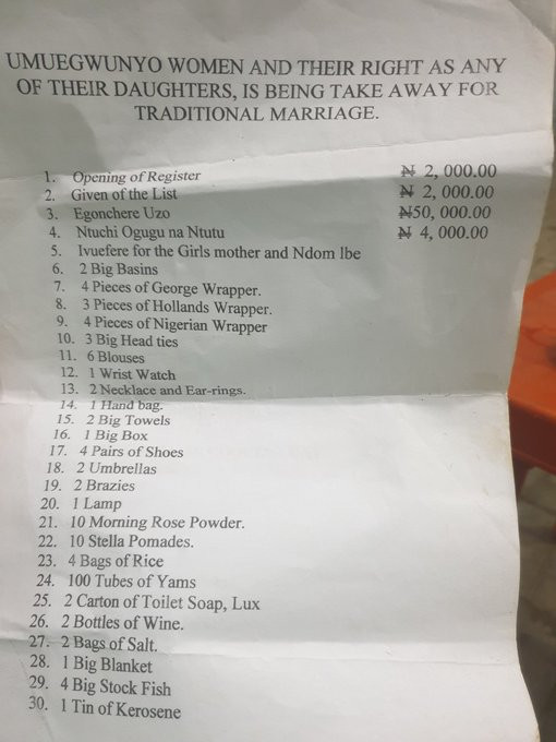 Abia state man shares a N1m traditional wedding list his relative received from his in-laws in Mbaise