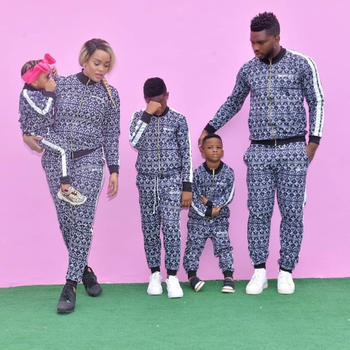 Adaeze and Joseph Yobo pose with their kids in matching outfit (photos)