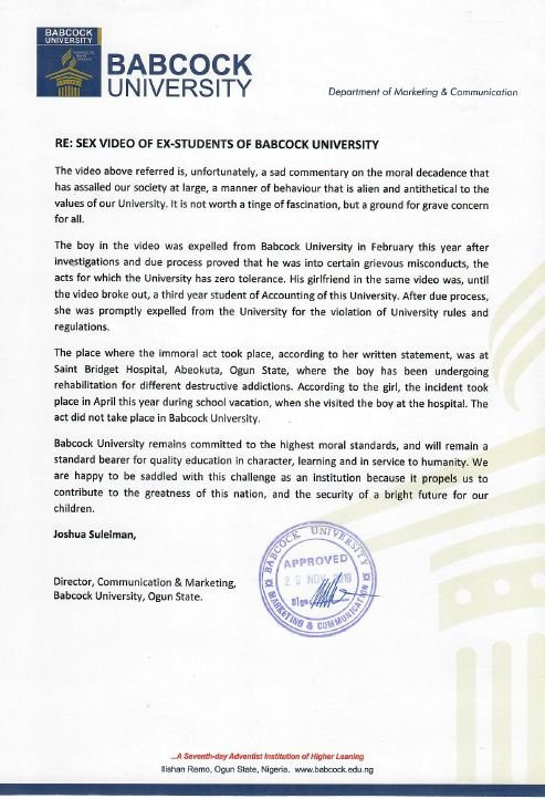 Babcock University confirms expulsion of its students in viral sex tape (read statement)