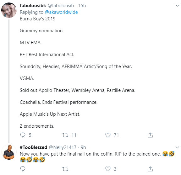 Nigerians gloat as AKA grudgingly congratulates Burna Boy on his Grammy nomination