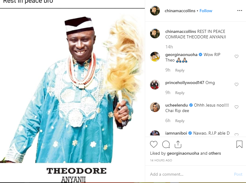Nollywood actor, Theodore Anyanji is dead