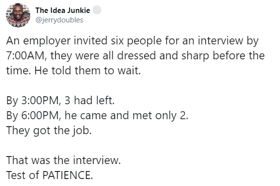 Twitter users react after an employer allegedly subjected prospective employees to long hours of waiting just to test their patience